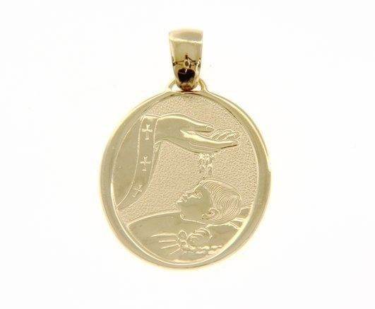18K YELLOW GOLD PENDANT BIG OVAL BAPTISM MEDAL 30 MM ENGRAVABLE MADE IN ITALY