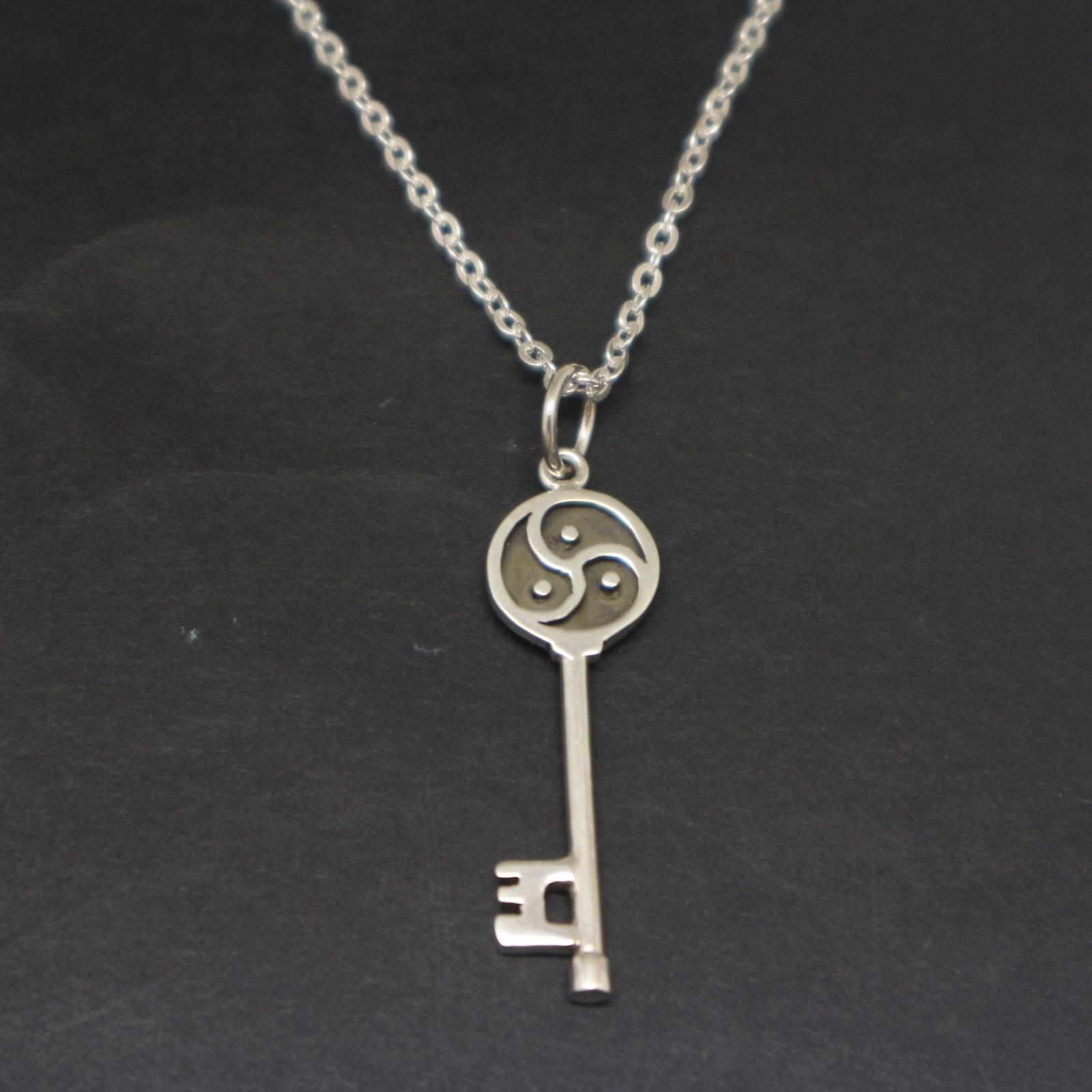 Silver BDSM Key Necklace Pendant