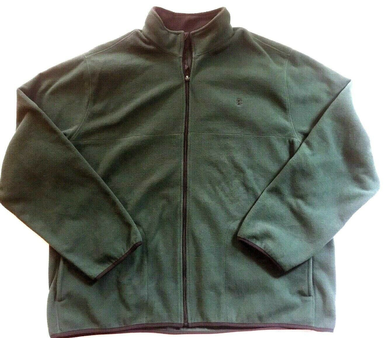 IZOD Full-Zip Polar Fleece Jacket Big & Tall Hunter Green w/ Black Trim 2XLT $70