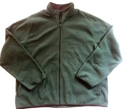 IZOD Full-Zip Polar Fleece Jacket Big & Tall Hunter Green w/ Black Trim 2XLT $70 image 1