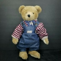 "Teddy Berger Bearwear Boyds Bears 16"" American Flag Sweater Jeans Overalls Plush - $24.74"
