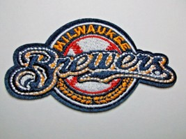 """Milwaukee Brewers~Embroidered PATCH~3 1/2"""" x 2 1/8""""~Iron Sew On~MLB~Ships FREE - $4.55"""