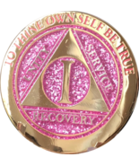 1 - 10 & 30 Year AA Medallion Elegant Glitter Pink Gold & Silver Plated ... - £11.72 GBP