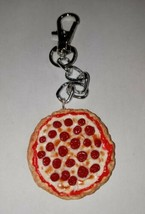 Pepperoni Pizza Clay Pizza Charm Keychain Pepperoni Cheese - $7.50