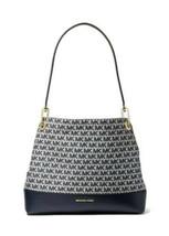 Michael Kors Raven Large MK Logo Jacquard Leather Blue Ivory  Bag Should... - $156.75