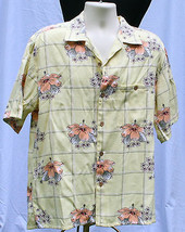 Joe Marlin Hawaiian Shirt Sz M Shirt Button Front Hibiscus Yellow Floral... - $15.48