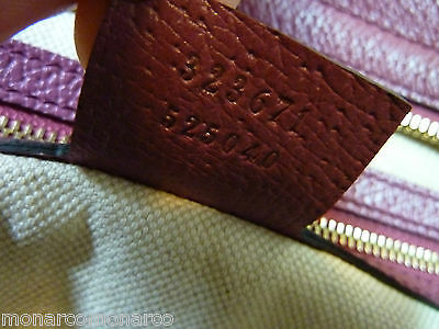 AUTH NWOT GUCCI Beige/Ebony/Dusty Rose Canvas/Leather Bree GG Tote image 11