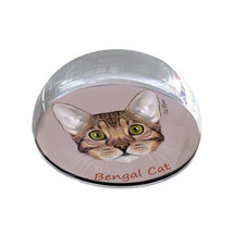 """Bengal Cat Head Illustration Art Gift 2"""" Crystal Dome Magnet or Paperweight - $15.99"""