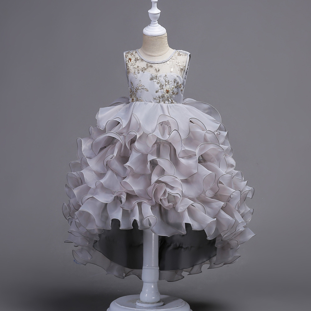 Hot Sale Gray Gold Lace Flower Girl Dress Pricess Short Pageant Gowns Ball Gowns image 2