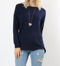 Navy Drop Shoulder Top, Long Sleeve Navy Shirt, Navy Long Sleeve Top, Zenana