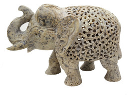 Handmade Sand Stone Undercut Trunk Down Carving Elephant - $157.45