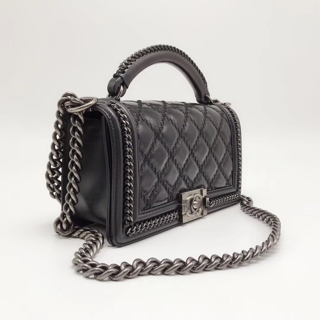 Authentic Chanel Black Quilted Calfskin 2 Way Top Handle