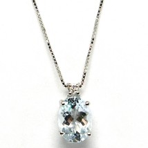 18K WHITE GOLD NECKLACE AQUAMARINE 1.25 OVAL CUT & DIAMOND, PENDANT & CHAIN image 1
