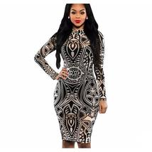Tribal Print Mesh Full Sleeve Women Bodycon Party Dress - $31.77
