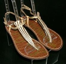 Sam Edelman 'Gigi' gold man made zebra print buckle thong sandal flats 10M - $23.95