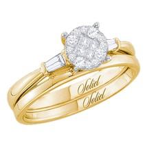 14kt Yellow Gold Princess Diamond Bridal Wedding Engagement Ring Set 1/4 Ctw - $533.17