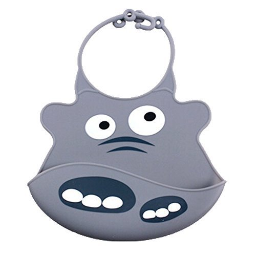 Lovely Grey Cow Adjustable Waterproof Silicone Baby Bib Pocket Bib 2026 cm