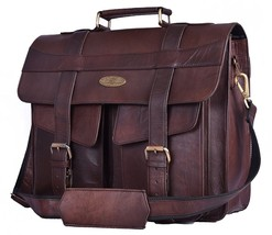 Handmade_world Vintage Genuine Leather Canvas Messenger Bag Laptop Bag - $59.39