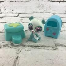 Littlest Pet Shop LPS Blue Panda Bear Figure With 2 Accessories Toys Hasbro - $9.89