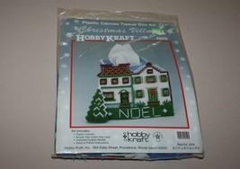 Hobby Kraft Christmas Village Plastic Canvas Tissue Box Kit 4559 House Noel New - $16.78