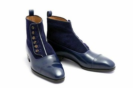 Men Navy Blue Color High Ankle Derby Cap Toe Suede Genuine Leather Butto... - $149.99+