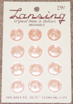 """BUTTONS LANSING 12 PINK PLASTIC BUTTONS SIZE 20 #8563 1/2"""" VINTAGE MADE ... - $3.00"""