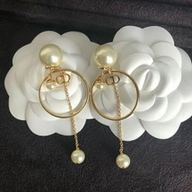 Authentic Christian Dior 2019 Tribales Double Pearl Dangle Drop Long EARRINGS image 9