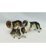 """3 Porcelain Collie Figurine 6.25"""" x 5.5"""" and 5"""" x 4"""" Made in Japan  - $44.10"""