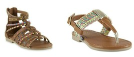 Toddler Neon Embellished  Themis Gladiator or Bff Braided sandals   size... - $14.99