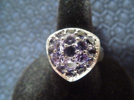 Beautiful Sterling Silver Two-Tone Trillion Style Iolite Cluster Ring, S... - $133.65