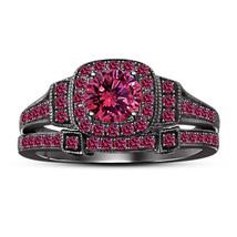 14k Black Gold Finish 925 Sterling Silver Womens Pink Sapphire Bridal Ring Set - $108.99
