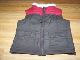 Toddler Size XS 3-4 Gymboree Dark Brown Red Puffer Vest Faux Fur Collar New NWOT - $22.00