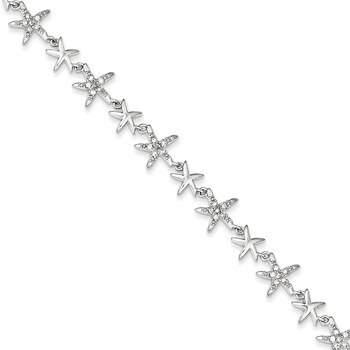 Primary image for Lex & Lu Sterling Silver Alternating Polished & CZ Starfish Link Bracelet 7.25""