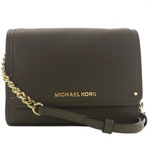 NWT MICHAEL KORS Hayes Small Leather Clutch Crossbody Bag, Green - $150.00