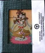 Krishna Handcraft Blank Book Crushed Gemstones Painted On Glass 5x4x.5 J... - $19.99