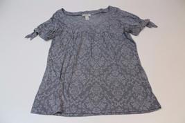 W11946 Womens ANN TAYLOR LOFT gray burnout brocade KNIT TOP, scoopneck, Medium - $19.29