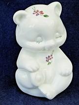Fenton Milk Glass Bear Violets in Snow Hand painted By D. Cutshaw Figurine - $48.51