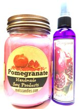 COMBO - POMEGRANATE 16oz Soy Candle & 4oz Bottle of Scent Spray - Combo ... - $21.00