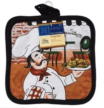 FAT CHEF POTHOLDERS Set of 2 Pot Holders Italian Cook Black Trim Ristorante image 2