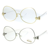 Pearl Nose Pad Clown Hand Hinge Drop Temple Swan Eye Glasses - $13.95