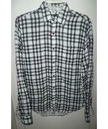 Flannel Shirt Plaid Long Sleeves The Gap Small Button Up Black & White - $19.95