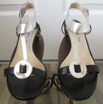 JIMMY CHOO Mirrored Leather/Kid Sandals in Black and Silver - Size 38 1/2 - $79.99