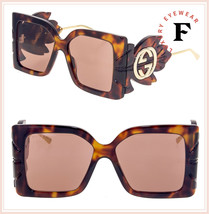 GUCCI 0535 LEAF Havana Gold Brown Oversized Fashion Sunglasses GG0535S U... - $732.60