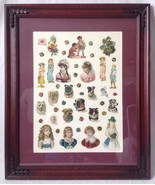 Framed Victorian Valentine Card Die Cutouts Collage Girls Dogs Flowers - $49.95