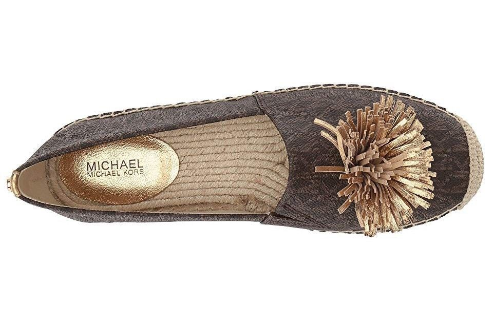 fb1769f88745 Michael Kors Lolita Slip On Brown Mini MK Logo Coated Canvas Metallic Napa