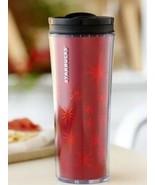 2011 Starbucks 16 Oz Travel Tumbler Flip Lid Red Holiday Metallic Stars NEW - $16.53