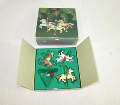 Enesco Carousel Horses Mobile Christmas Ornament With Original Box 1982 E-6958 - $19.79