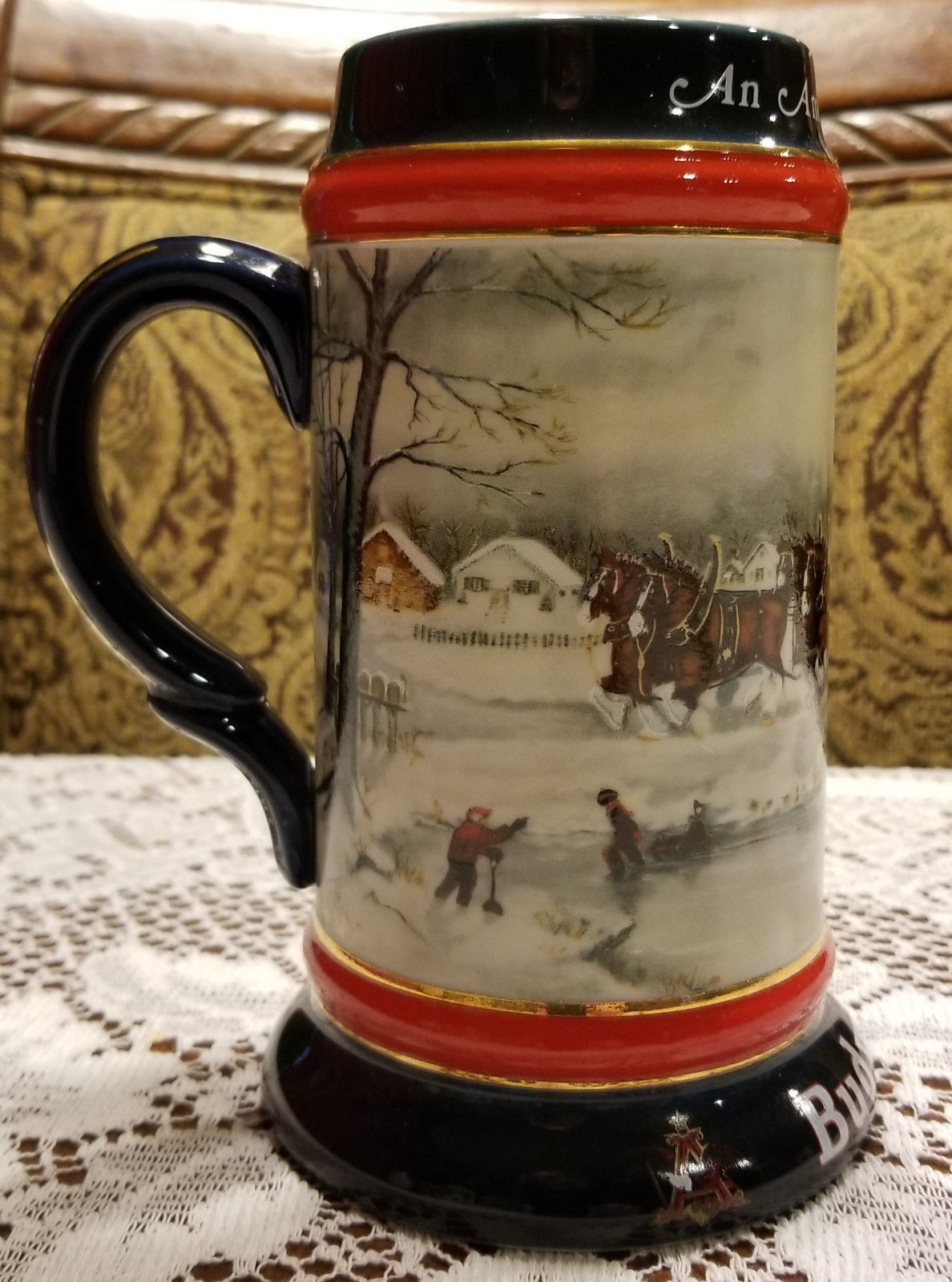 budweiser holiday christmas stein 1990 clydesdales anheuser busch mug - Budweiser Christmas Steins