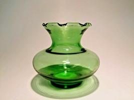 VTG Anchor Hocking Forest Green Glass Flared Crimped Ruffle Rim Flower Vase - $14.99
