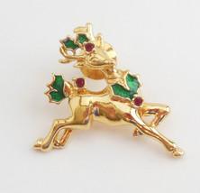 Vintage Signed Avon Blouse Pin Reindeer Christmas Jewelry Crystals Enamel - $12.95